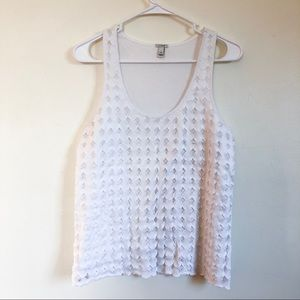 j. crew | white eyelet dot tank medium